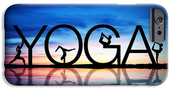 Ocean Drawings iPhone Cases - Sunset Yoga iPhone Case by Aged Pixel