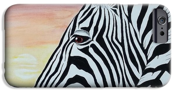 Steven White iPhone Cases - Sunset Zebra iPhone Case by Steven White