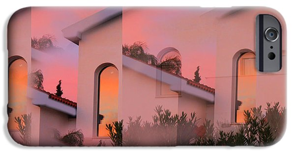 Amazing Sunset iPhone Cases - Sunsets on Houses iPhone Case by Augusta Stylianou
