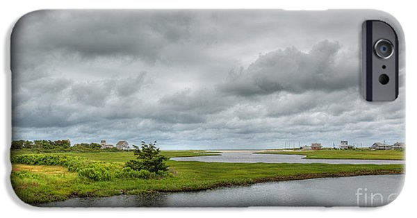 Storm Clouds Cape Cod iPhone Cases - Sunshine and Heavy Clouds Over Dennisport iPhone Case by Michelle Wiarda