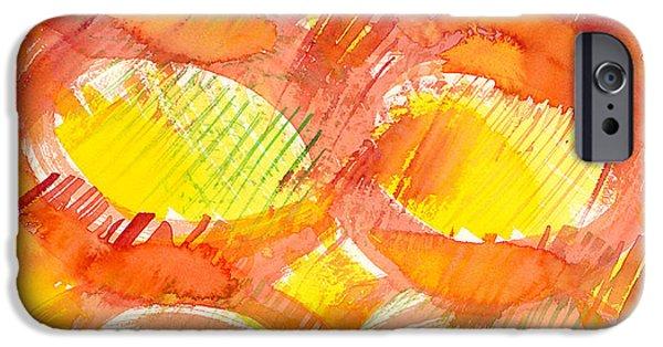 Sun Rays Paintings iPhone Cases - Sunshine Circles iPhone Case by Sara Srubar-Erb