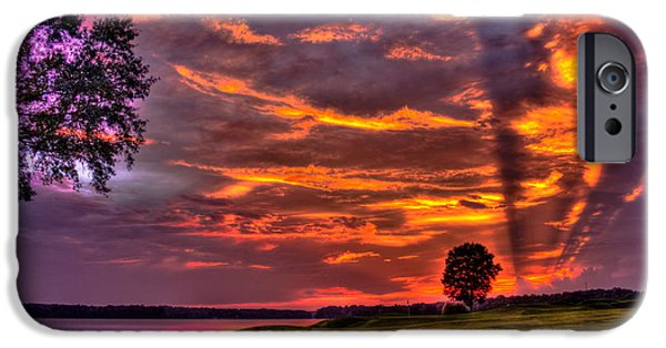 The Tiger iPhone Cases - Sunset Shadows on Lake Oconee iPhone Case by Reid Callaway