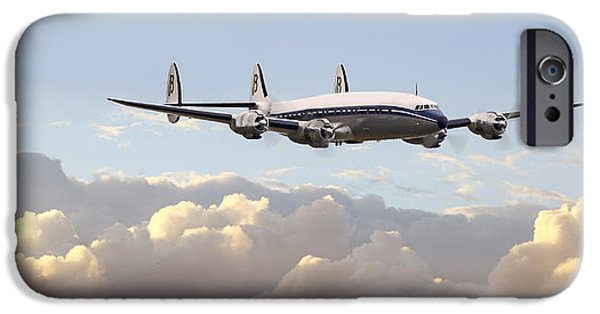 Airliner iPhone Cases - Super Constellation - End of an Era iPhone Case by Pat Speirs