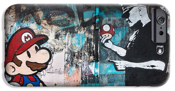 Police Art iPhone Cases - Super Mario iPhone Case by Pedro Nunez