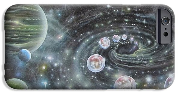 Cosmic Space Paintings iPhone Cases - Super Massive Black Hole With Multiverse iPhone Case by Sam Del Russi