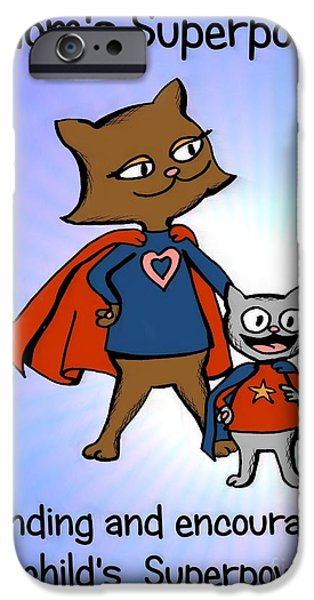 Super Mom and Son iPhone Case by Pet Serrano