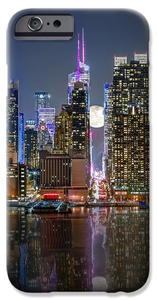 Concept Art iPhone Cases - Super Moon at 42nd street  iPhone Case by Eduard Moldoveanu