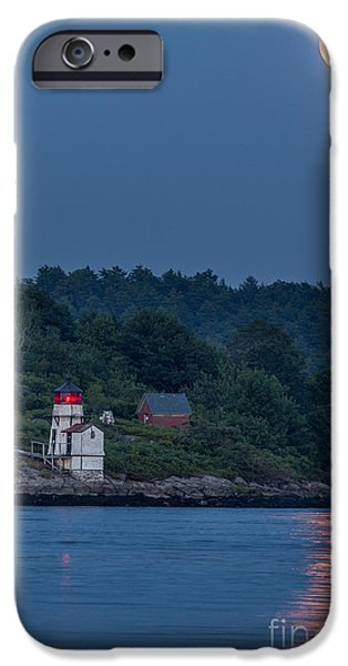 New England Lighthouse iPhone Cases - Super Moon iPhone Case by Benjamin Williamson