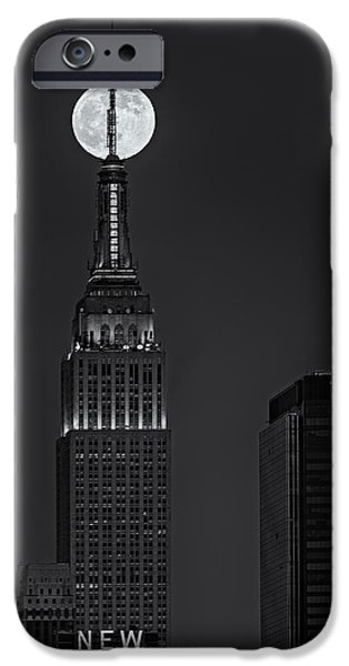 Super Moon In An Empire State Of Mind BW iPhone Case by Susan Candelario