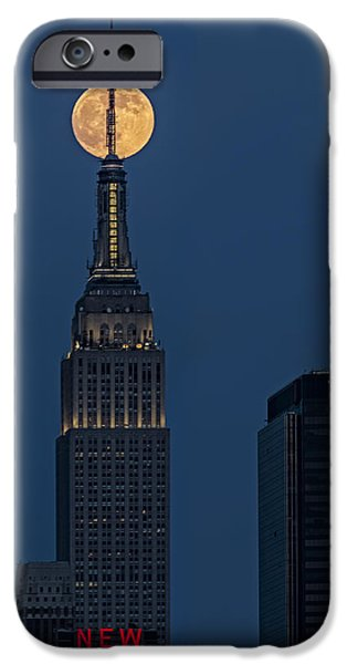 Super Moon iPhone Cases - Super Moon In An Empire State Of Mind iPhone Case by Susan Candelario