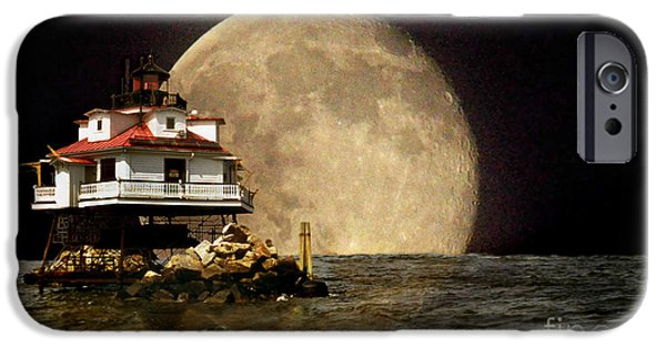Lighthouse Art iPhone Cases - Super Moon Lighthouse iPhone Case by Skip Willits