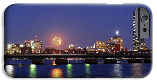 City. Boston iPhone Cases - Super Moon over Boston iPhone Case by Juergen Roth