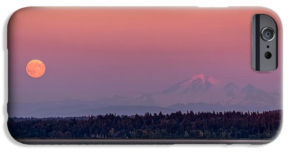 Super Moon iPhone Cases - Super Moon over Mount Baker iPhone Case by Pierre Leclerc Photography