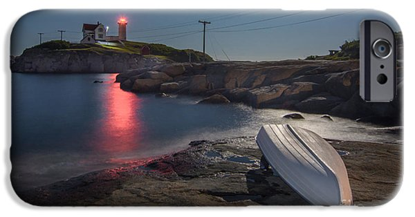 Nubble Lighthouse iPhone Cases - Super Moon over Nubble iPhone Case by Scott Thorp