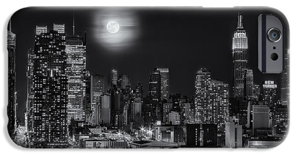 Hudson River iPhone Cases - Super Moon Over NYC BW iPhone Case by Susan Candelario