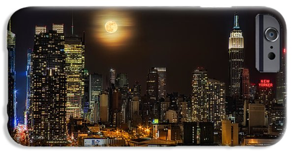 Bank Of America iPhone Cases - Super Moon Over NYC iPhone Case by Susan Candelario