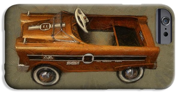 Kids Sports Art iPhone Cases - Super Sport Pedal Car iPhone Case by Michelle Calkins