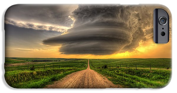 Nebraska iPhone Cases - Supercell Highway - Arcadia Nebraska iPhone Case by Douglas Berry