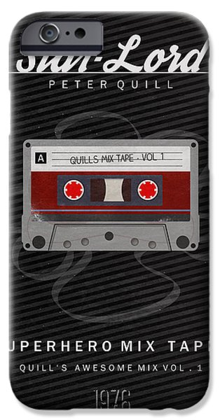 Guardian iPhone Cases - Superhero Mix Tapes - Star-Lord iPhone Case by Alyn Spiller