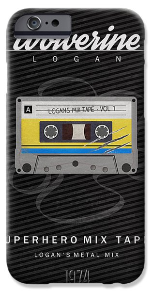X-men iPhone Cases - Superhero Mix Tapes - Wolverine iPhone Case by Alyn Spiller