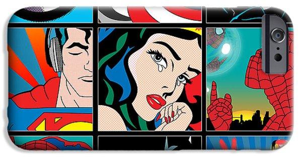 Animation iPhone Cases - Superheroes iPhone Case by Mark Ashkenazi