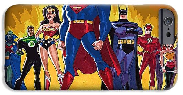 Supergirl Paintings iPhone Cases - Superheroes iPhone Case by Victor Gladkiy