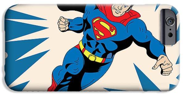 Animation iPhone Cases - Superman 8 iPhone Case by Mark Ashkenazi
