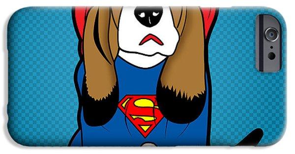 Animation iPhone Cases - Superman Dog  iPhone Case by Mark Ashkenazi