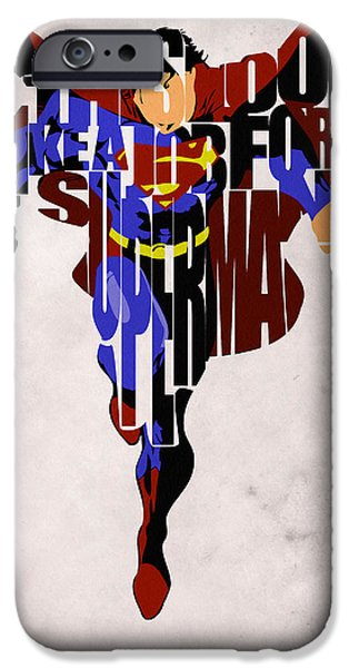 Pop Digital Art iPhone Cases - Superman - Man of Steel iPhone Case by Ayse Deniz