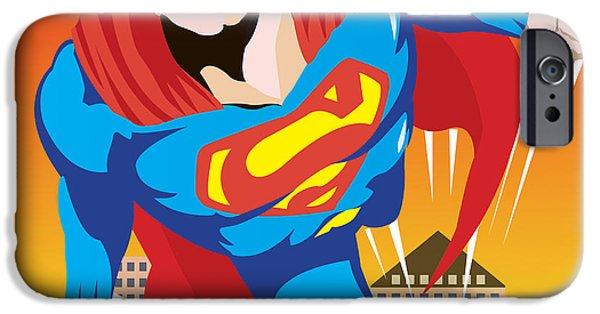 Mascots Mixed Media iPhone Cases - Superman iPhone Case by Neil Finnemore