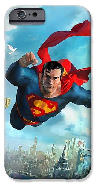 Metropolis iPhone Cases - Superman Over Metropolis iPhone Case by Ryan Barger