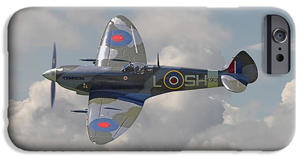 Classic Aircraft iPhone Cases - Supermarine Spitfire iPhone Case by Pat Speirs