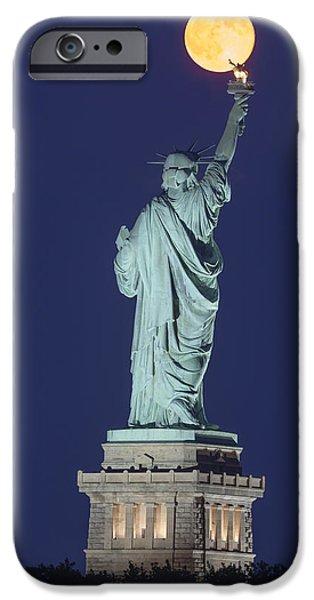 Moonscape iPhone Cases - Supermoon Illuminates New York City iPhone Case by Susan Candelario