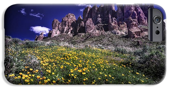 Spring iPhone Cases - Superstition Mountain at Spring Time iPhone Case by Sean Foster