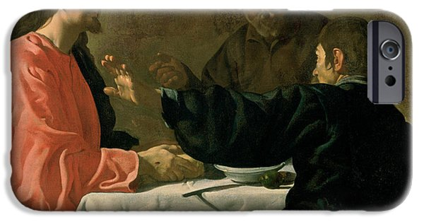 Jesus Photographs iPhone Cases - Supper At Emmaus, 1620 Oil On Canvas iPhone Case by Diego Rodriguez de Silva y Velazquez