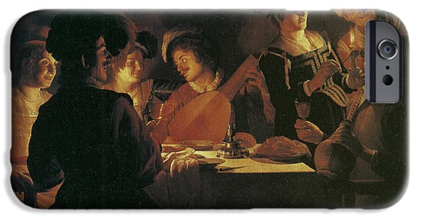 Lute Paintings iPhone Cases - Supper Party with Lute Player iPhone Case by Gerrit van Honthorst