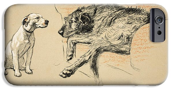 Black Dog iPhone Cases - Supplication iPhone Case by Cecil Charles Windsor Aldin