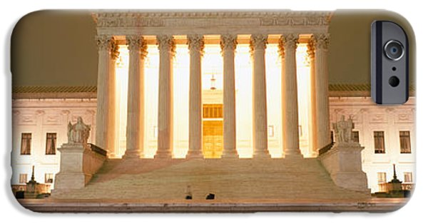 Facade iPhone Cases - Supreme Court Building Illuminated iPhone Case by Panoramic Images