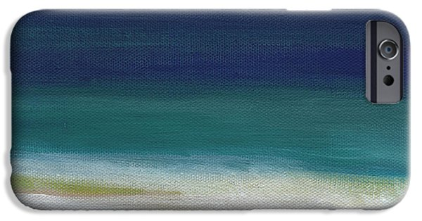 Abstracted Mixed Media iPhone Cases - Surf and Sky- abstract beach painting iPhone Case by Linda Woods