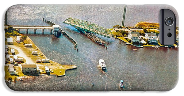 Topsail Island iPhone Cases - Surf City Swing Bridge iPhone Case by Betsy A  Cutler