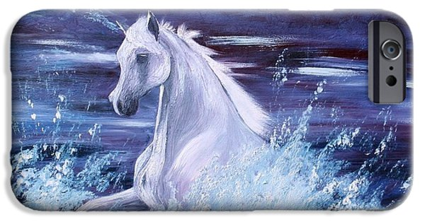 Horse iPhone Cases - Surf Horse - untitled iPhone Case by Isabella F Abbie Shores LstAngel Arts