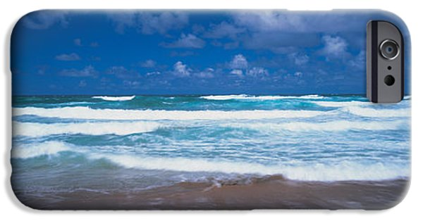 West Indies iPhone Cases - Surf On The Beach, Barbados, West Indies iPhone Case by Panoramic Images
