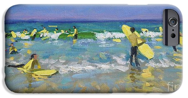 Summer Sports Paintings iPhone Cases - Surf School at St Ives iPhone Case by Andrew Macara