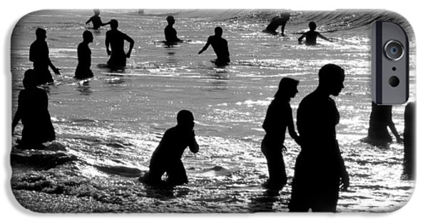 Surf Silhouette iPhone Cases - Surf Swimmers iPhone Case by Sean Davey