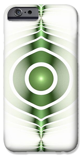 Symbols iPhone Cases - Surface Waves - Green iPhone Case by Anastasiya Malakhova
