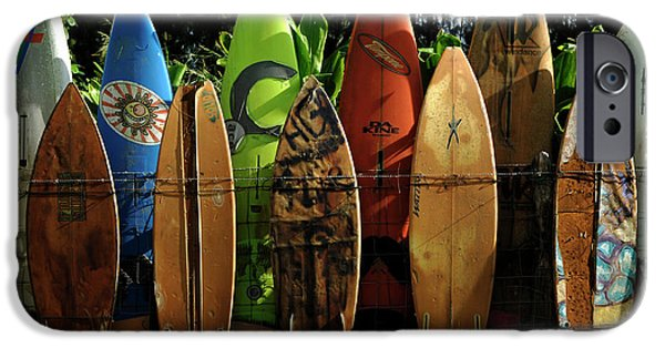 Sunset iPhone Cases - Surfboard Fence 4 iPhone Case by Bob Christopher