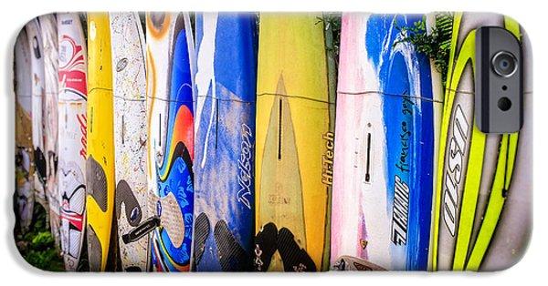 Board iPhone Cases - Surfboard Fence Maui Hawaii iPhone Case by Edward Fielding