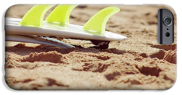 Surf Lifestyle Photographs iPhone Cases - Surfboard fins iPhone Case by Carlos Caetano