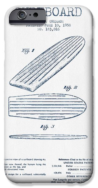 Surfing iPhone Cases - Surfboard patent drawing from 1958 -  Blue Ink iPhone Case by Aged Pixel