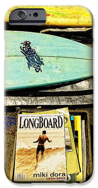 Surfing Magazine iPhone Cases - Surfboards and Magazines iPhone Case by Ron Regalado